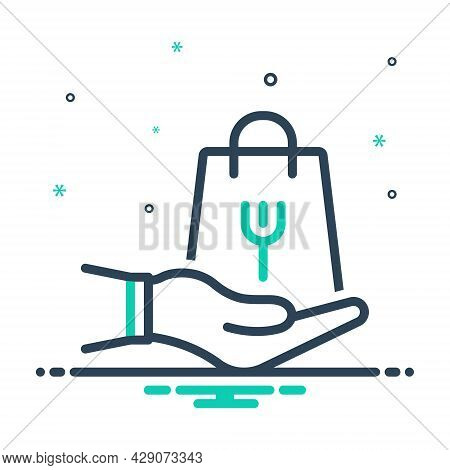Mix Icon For Take Accept Receive Shopping Bag Hand
