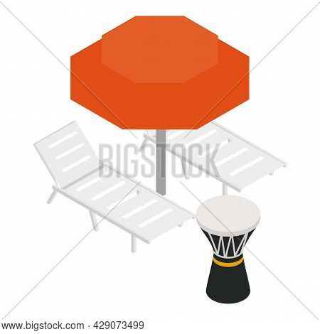 Beach Vacation Icon Isometric Vector. Beach Umbrella, Chaise Longue And Darbuka Drum. Tourist Countr