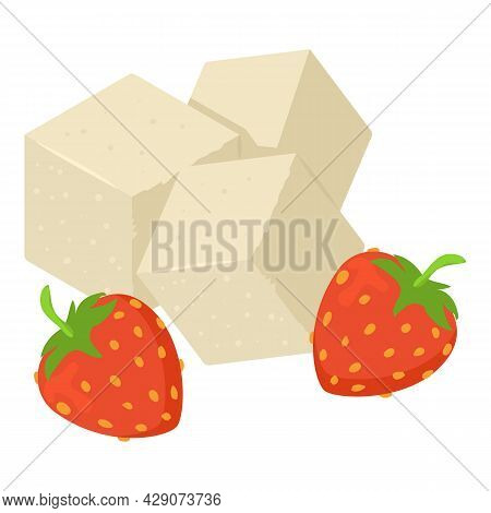 Delicious Strawberry Icon Isometric Vector. White Sugar Cube And Red Strawberry. Sweet Strawberry, S