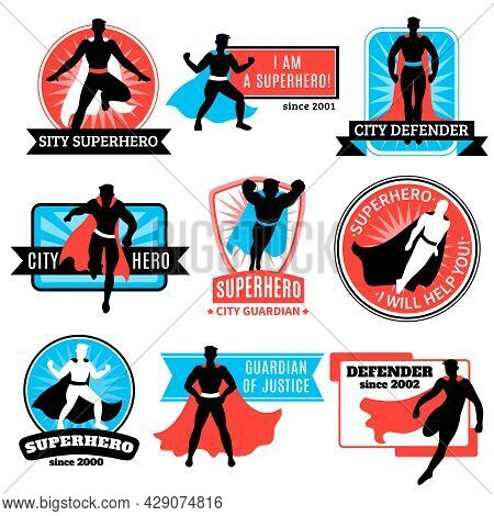 Set Of Emblems And Stickers With Flying Jumping Running Superhero Silhouettes And Words Defender And