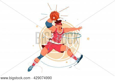 Excited Young Male Basketball Player Scores Goal In Jump With Ball. Isolated Icon Concept Of Man In