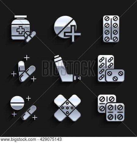 Set Inhaler, Crossed Bandage Plaster, Pills In Blister Pack, Medicine Pill Or Tablet, And Bottle Pil