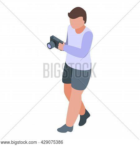 Kid Photograph Icon Isometric Vector. Photo Camera. Family Photo