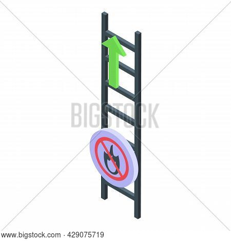 Evacuation Ladder Icon Isometric Vector. Fire Exit. Emergency Escape