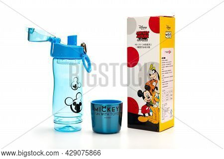 Zhongshan Guangdong China-july 14 2021:disney Transparent Plastic Water Bottle For Boy With The Lid