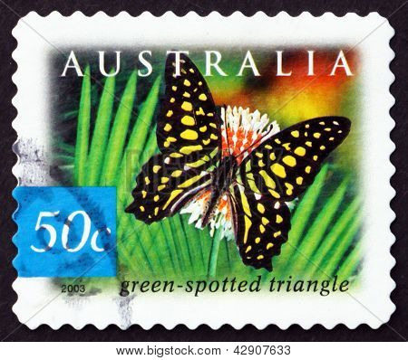 Postage Stamp Australia 2003 Green-spotted Triangle Butterfly