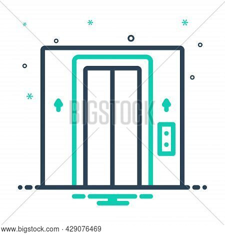 Mix Icon For Elevator Lift Entrance Floor Doorway Electric Gate