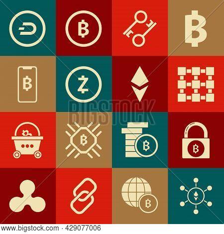 Set Blockchain Technology Ethereum Eth, Lock With Bitcoin, Cryptocurrency Key, Zcash Zec, Phone Mobi