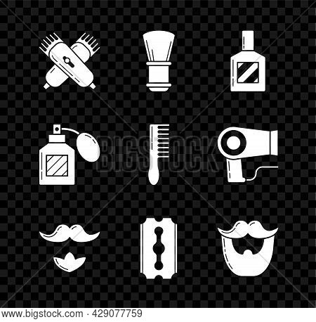Set Crossed Electrical Hair Clipper Or Shaver, Shaving Brush, Aftershave, Mustache And Beard, Blade