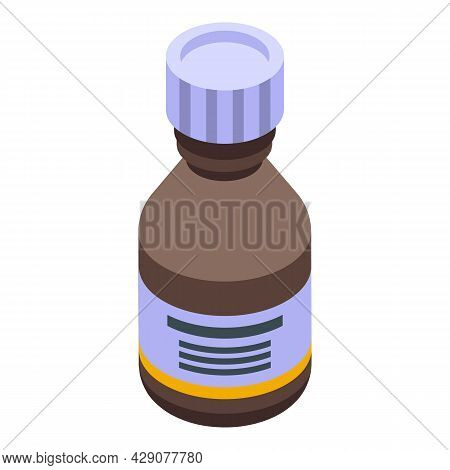 Antidepressant Syrup Icon Isometric Vector. Medicine Bottle. Spoon Dropper