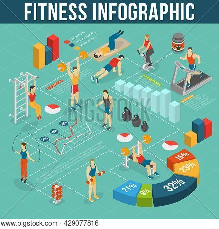 Fitness Infographic Set.fitness Club Information. Fitness Isometric Set. Fitness Vector Illustration