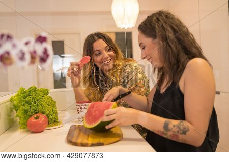 A Lgbt Couple Of Girls Cooking Breakfast At Home, Lesbian Girls Couple, Girls Relationship Lifestyle