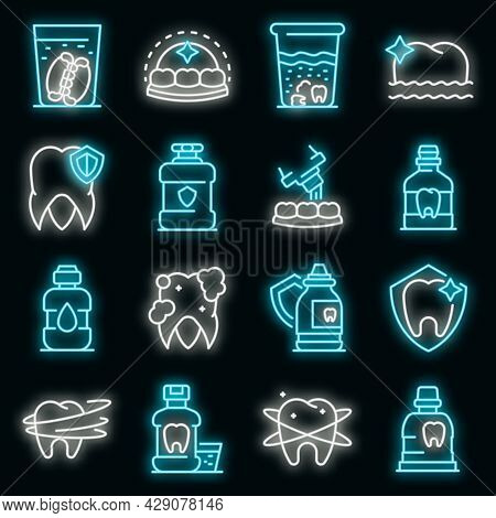 Tooth Rinse Icons Set. Outline Set Of Tooth Rinse Vector Icons Neon Color On Black