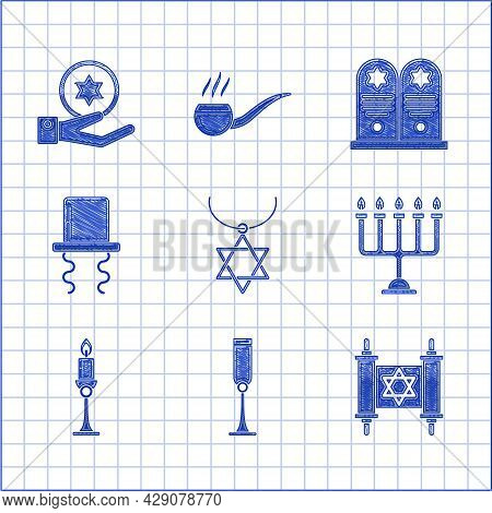 Set Star Of David Necklace On Chain, Jewish Goblet, Torah Scroll, Hanukkah Menorah, Burning Candle C