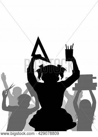 Silhouette Of School Children, Back To School. Cheerful And Happy Crowd Of Pupils. Vertical. Vector