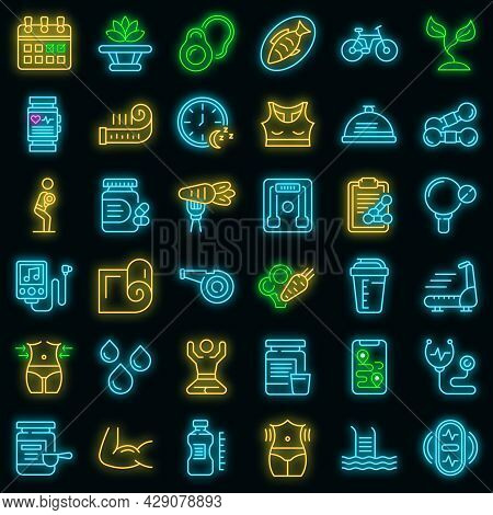 Healthy Lifestyle Icons Set. Outline Set Of Healthy Lifestyle Vector Icons Neon Color On Black