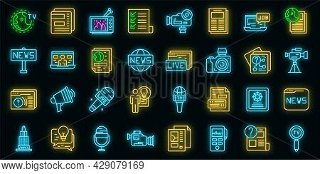 Reportage Icons Set. Outline Set Of Reportage Vector Icons Neon Color On Black