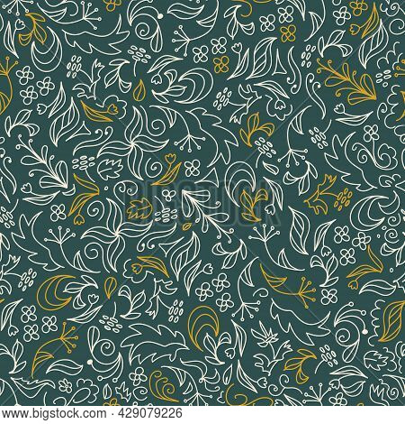 Bright Floral Summer Seamless Doodle Pattern. In Trendy Earthy Tones. Field Herbs And Flowers On A D
