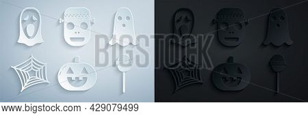 Set Pumpkin, Ghost, Spider Web, Lollipop, Zombie Mask And Funny And Scary Ghost For Halloween Icon.