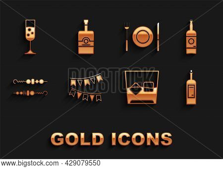 Set Carnival Garland With Flags, Beer Bottle, Bottle Of Wine, Glass Whiskey Ice Cubes, Grilled Shish
