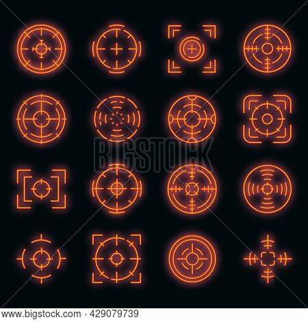 Focus Icons Set. Outline Set Of Focus Vector Icons Neon Color On Black