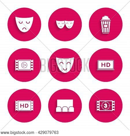 Set Comedy Theatrical Mask, , Play Video, Laptop Screen With Hd Video Technology, 4k Movie, Tape, Fr