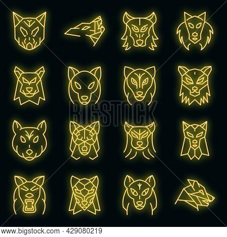 Wolf Icons Set. Outline Set Of Wolf Vector Icons Neon Color On Black