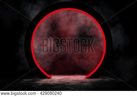 Empty Space Of Studio Dark Room With Fog Or Mist And Red Lighting Effect On Concrete Floor Grunge Te