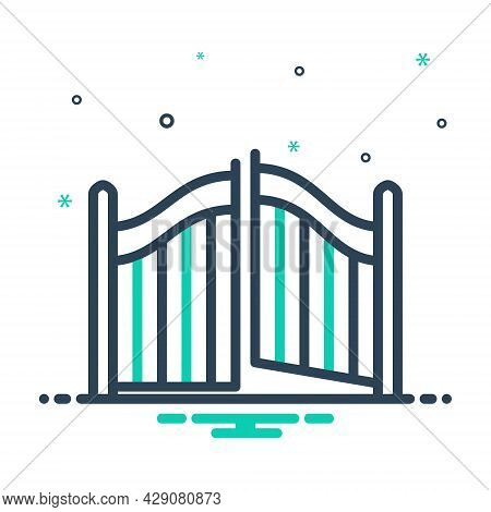 Mix Icon For Gate Doorway Egress Outturn Entrance Entryway Exit Evacuation