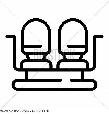 Airplane Double Seat Icon Outline Vector. Aircraft Plane. Flight Chair