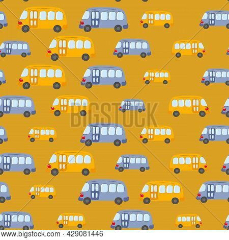 Seamless Pattern With Cute Bus, Car On Color Background. Cartoot Transport. Vector Illustration. Doo
