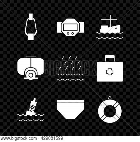 Set Carabiner, Diving Watch, Fishing Boat On Water, Floating Buoy The Sea, Swimming Trunks, Lifebuoy