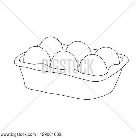 Open Egg Box With Vector Stock Illustration. Fresh Organic Chicken Eggs In Carton Pack Or Egg Contai