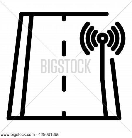 Wifi Road Sensor Icon Outline Vector. Car Autonomous. Automotive Vehicle