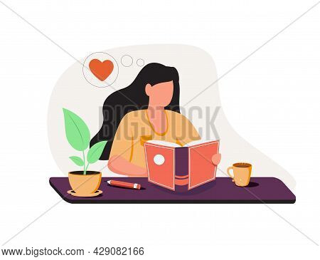 Teenage Girl Writing Diary Or Journal. Happy Young Woman Reading Book And Taking Notes With Pencil.