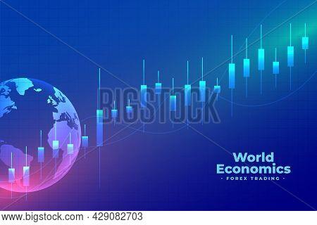 World Economics Forex Trading Blue Background Design Vector Illustration