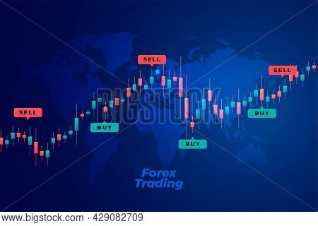 Buy And Sell Trend Forex Trading Background Design Vector Illustration