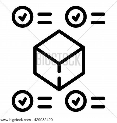 Parcel Box Approved Icon Outline Vector. Featured Product. Data Survey