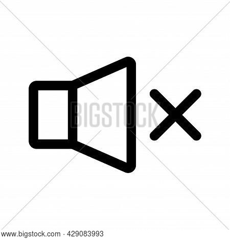Speaker Off, Line Icon. Mute. Forbidden Sound. Outline Icon Of A Speaker For Your Web Site Design, L