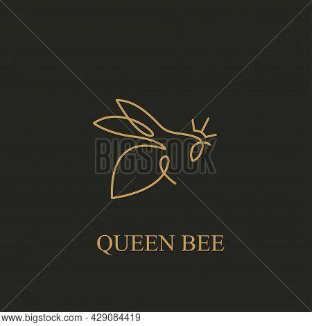 Premium Honest Queen Bee Logo Design Continuous Line Art Style