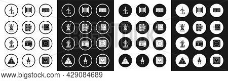 Set Electrical Outlet, Panel, High Voltage Power Pole Line, Wind Turbine, Ampere Meter, Multimeter,