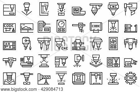 Cnc Machine Icons Set Outline Vector. Mill Controller. Industrial Tool