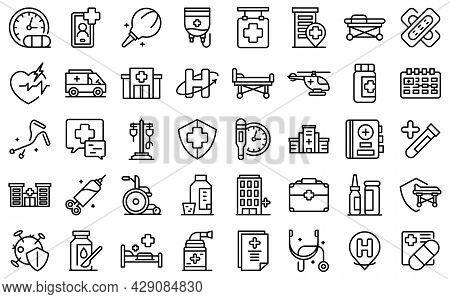 Hospitalization Icons Set Outline Vector. Medical Health. Bed Insurance