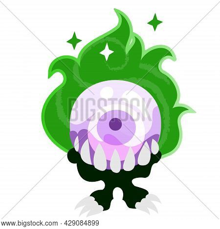 Scrying Crystal Ball. Magic Crystal Ball For Divination. Vector Halloween Clipart Illustration In Fl