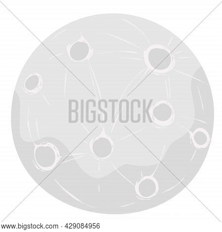 Full Moon Vector Illustration With Craters In Cartoon Style Isolated Jn White Backgeound.