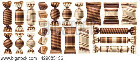 Vector Set Of Candies, Collection Of Cut Out Illustrations Assorted Choco Candy And Cute Milky Jelly