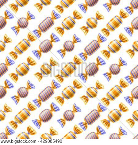 Vector Candy Seamless Pattern, Square Repeating Wrapped Candies Background For Child Textile, Poster