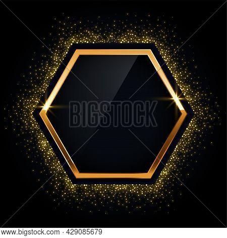 Hexagonal Golden Frame With Glitter Background Design Vector Illustration
