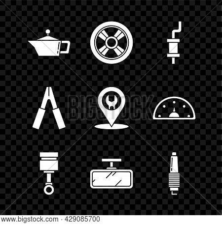 Set Canister For Motor Machine Oil, Car Wheel, Muffler, Engine Piston, Mirror, Spark Plug, Battery J