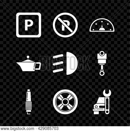 Set Parking, No Or Stopping, Speedometer, Car Spark Plug, Wheel, Service, Canister For Motor Machine
